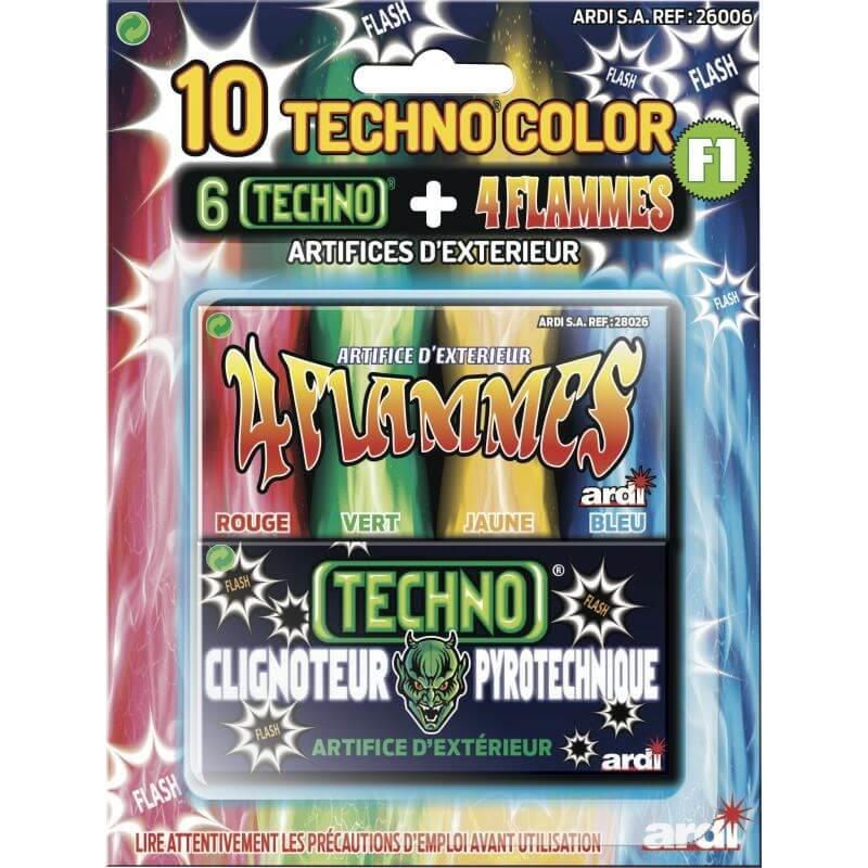 Carte de 10 artifices Techno color