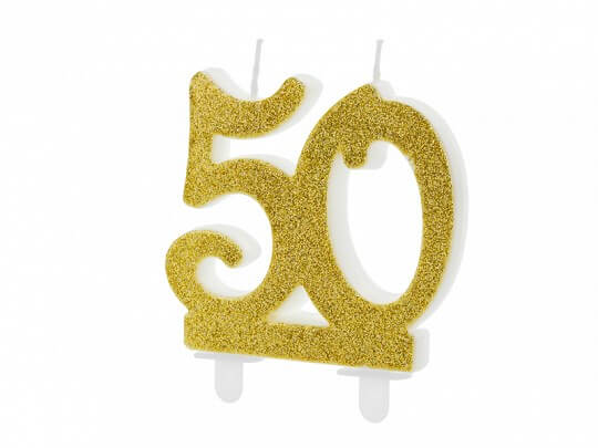 Bougie Anniversaire or 50 ans