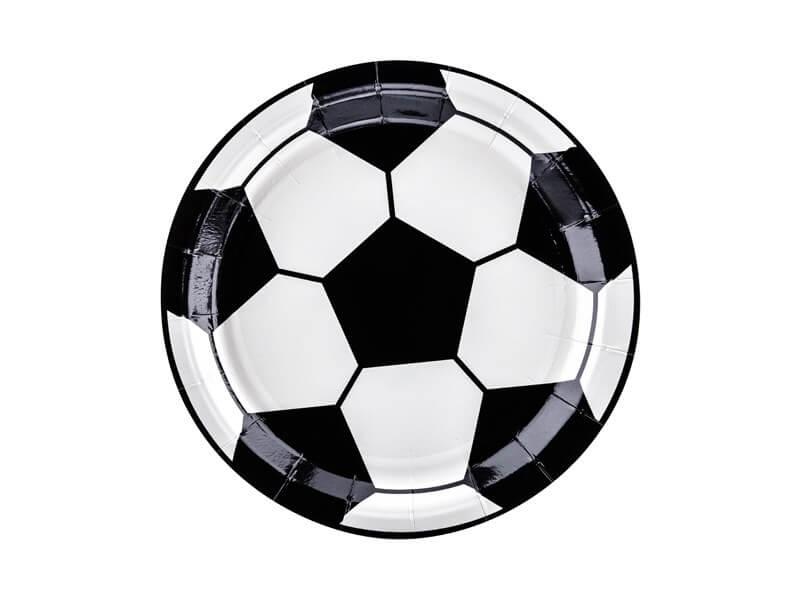 Assiette en papier ronde Ballon de Foot ø18cm (Lot de 6)