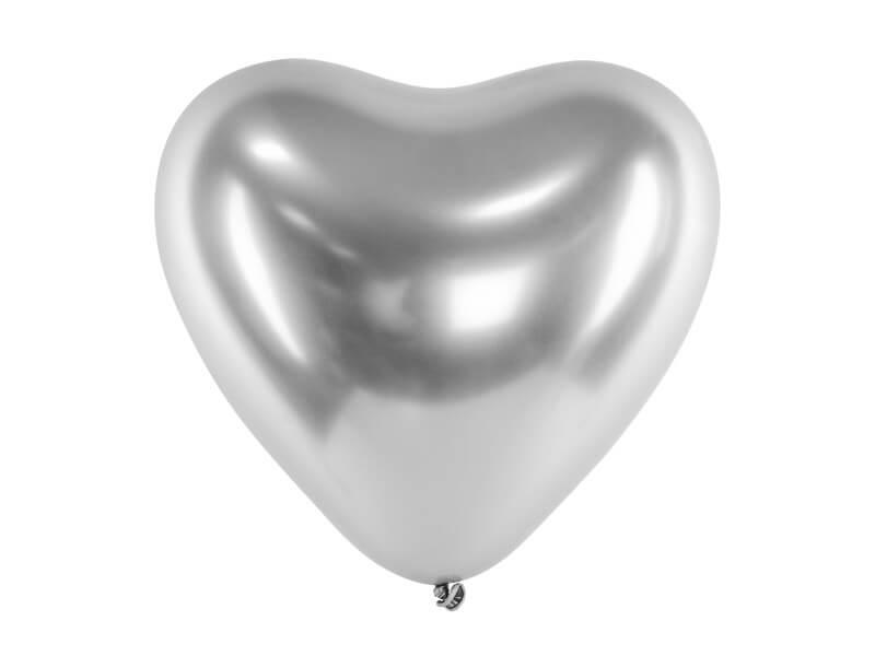 Lot de 50 ballons Coeur Argent métallique