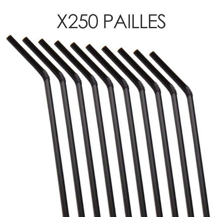 Paille Biodégradable PLA flexible noire 20,5cm ø6mm (250pcs)