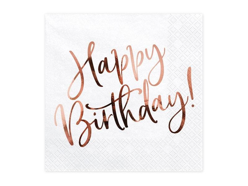 Serviette en papier Happy Birthday Or Rose (Lot de 20)