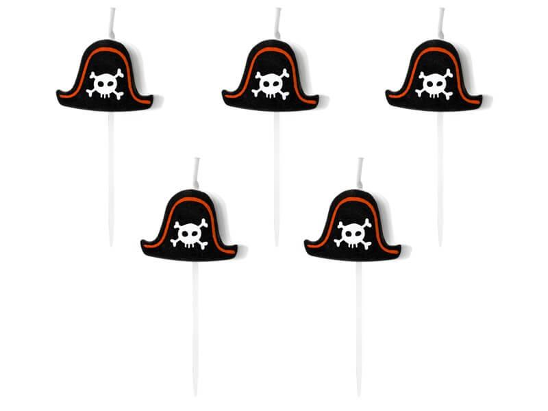 Bougie chapeau de pirate (lot de 5)