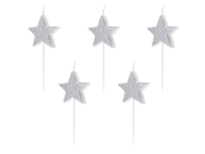 Bougies anniversaire étoile argent (Lot de 5 pièces)