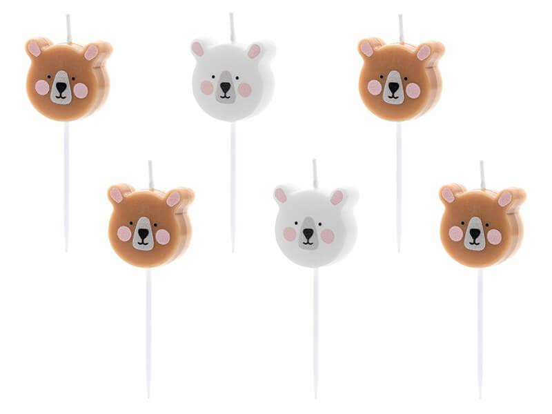Bougies d'anniversaire tête d'ours (lot de 6)