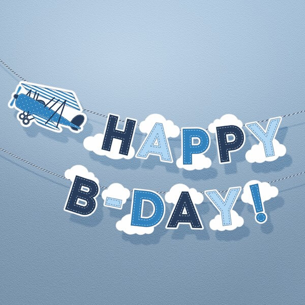 Guirlande Happy Birthday Aviateur bleue