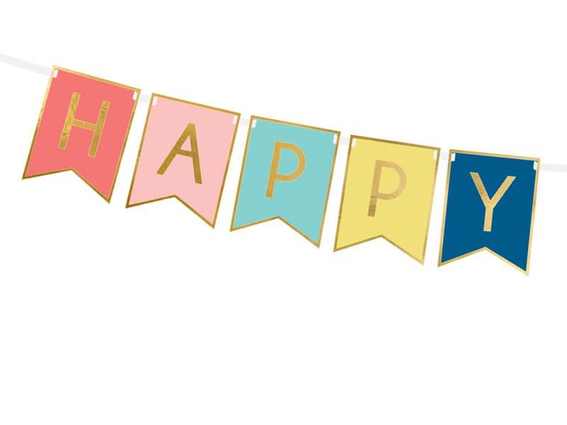 Guirlande Happy Birthday inscription Or