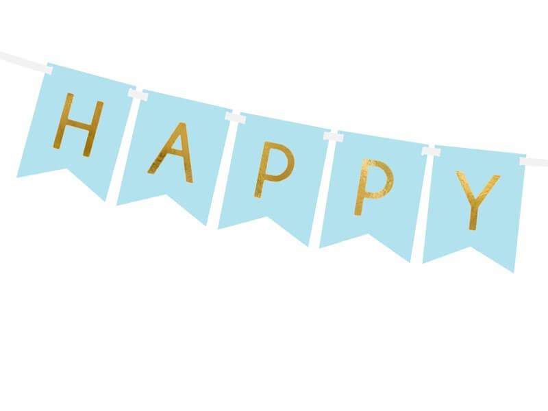 Guirlande Happy Birthday bleue inscription Or