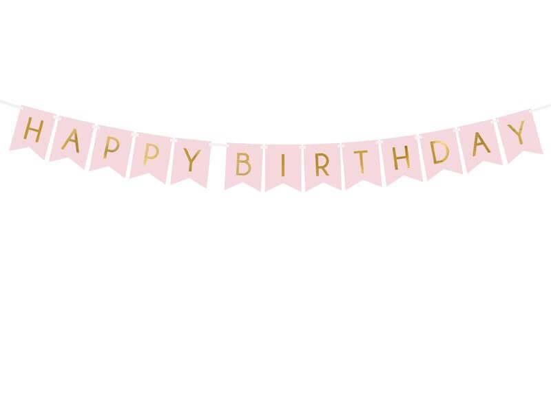 Guirlande Happy Birthday rose  inscription Or