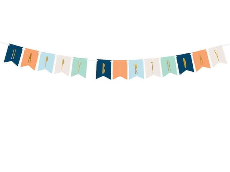 Guirlande Happy Birthday multicolor avec inscription Or
