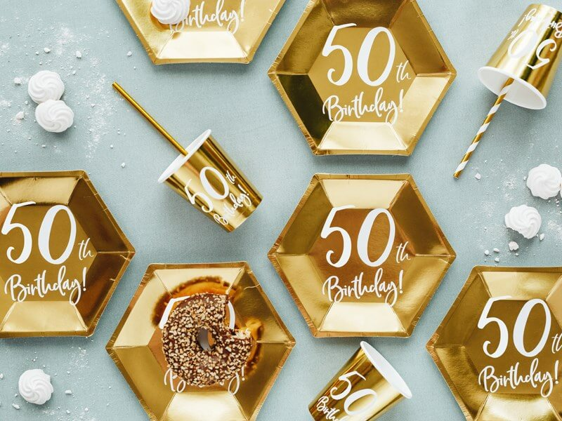 "Lot de 6 gobelets or  ""50  ans"""