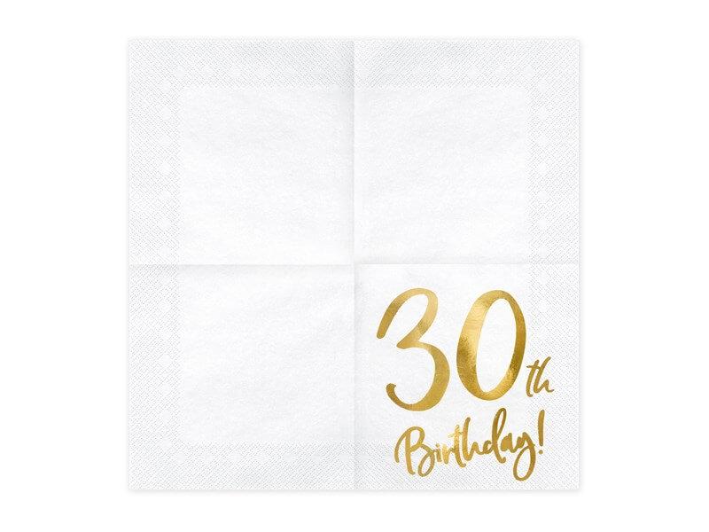 Serviette en papier 30th Birthday (Lot de 20)