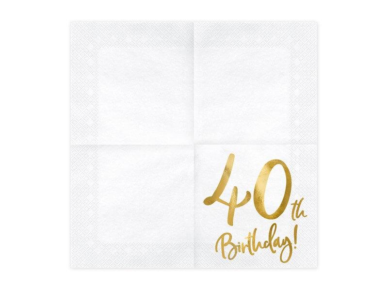Serviette en papier 40th Birthday (Lot de 20)