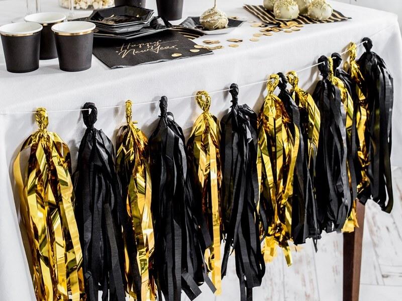Guirlande tassel Or et Noir 12 pompons