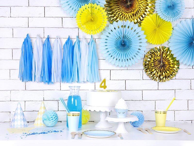 Guirlande tassel bleu 12 pompons