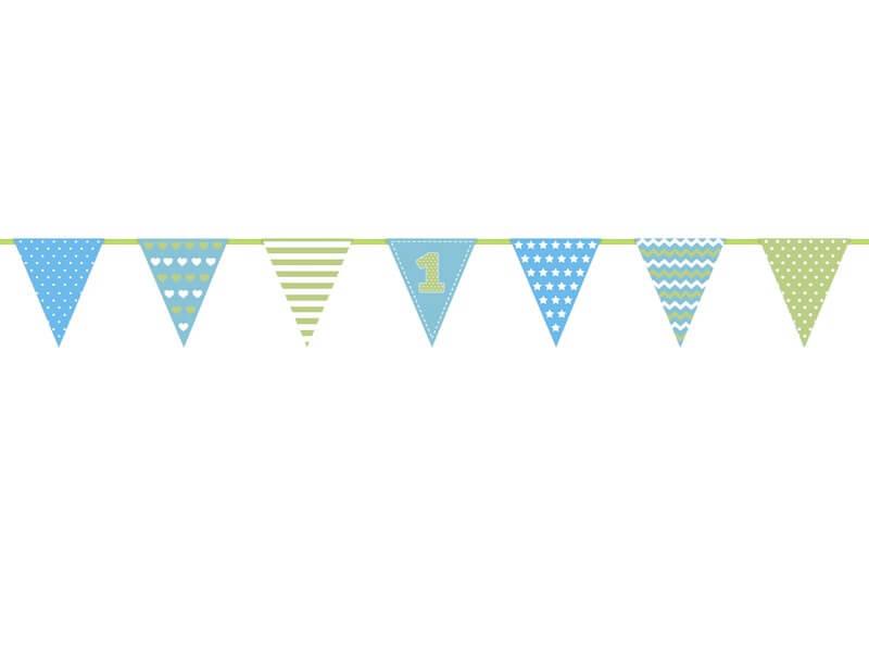 Guirlande en papier bleu ciel anniversaire 1 an