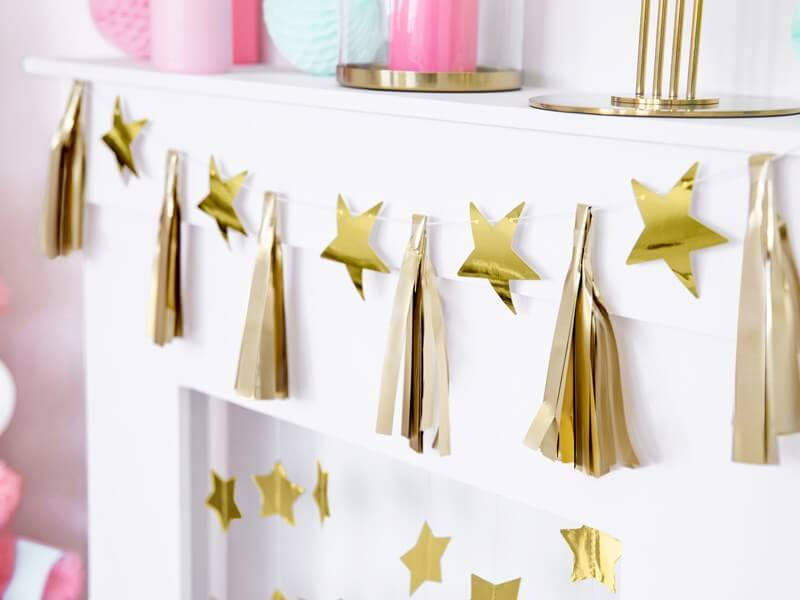 Guirlande étoile et pompons or