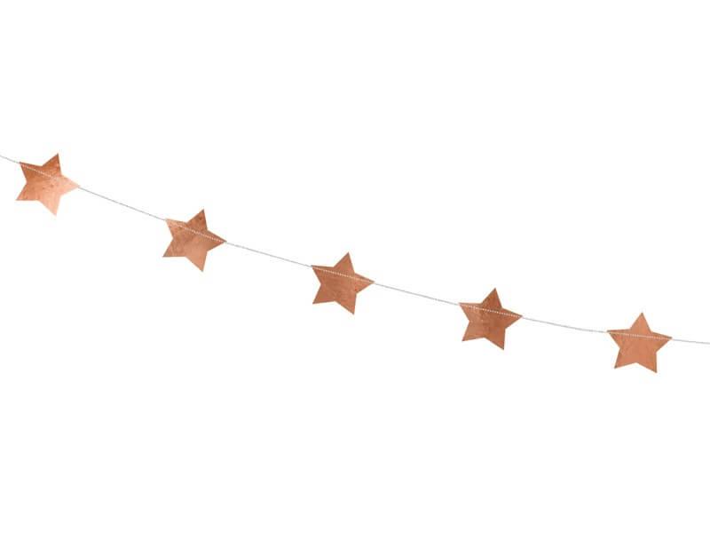 Guirlande en forme d'étoile rose gold métallisé