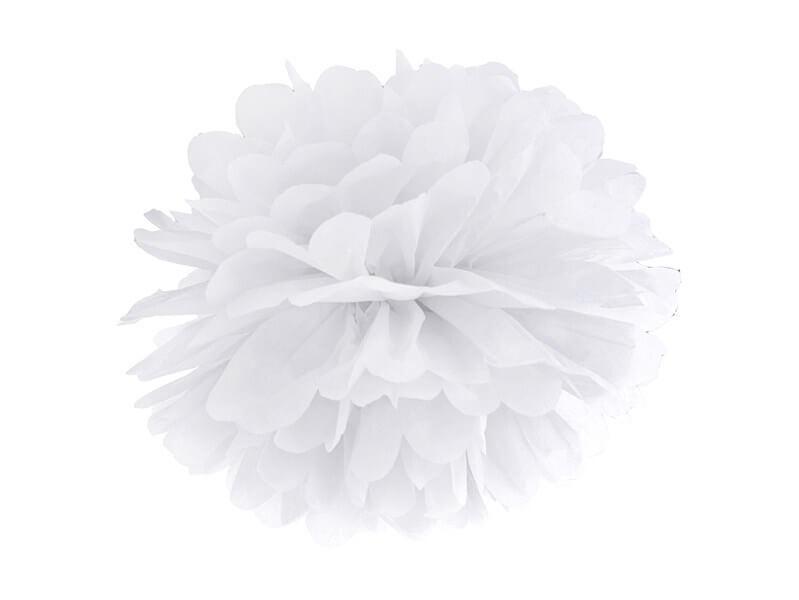 Pompon en papier blanc 25cm