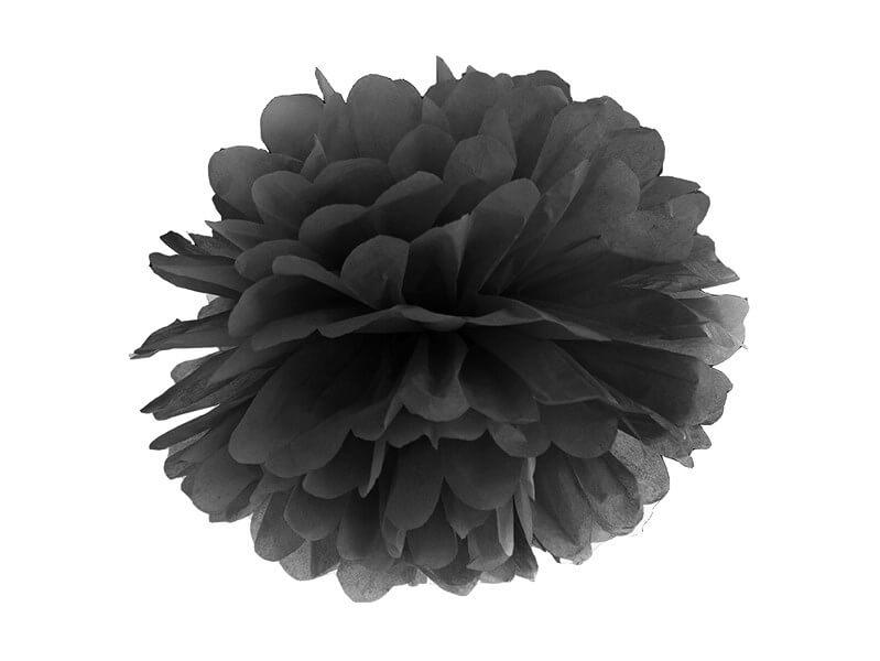 Pompon en papier noir 25cm