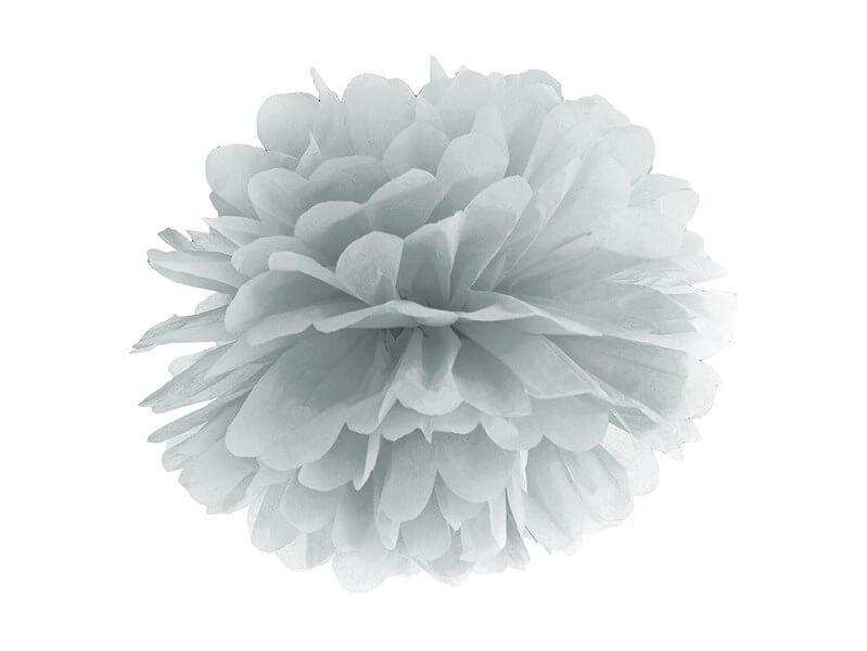 Pompon en papier argent 25cm