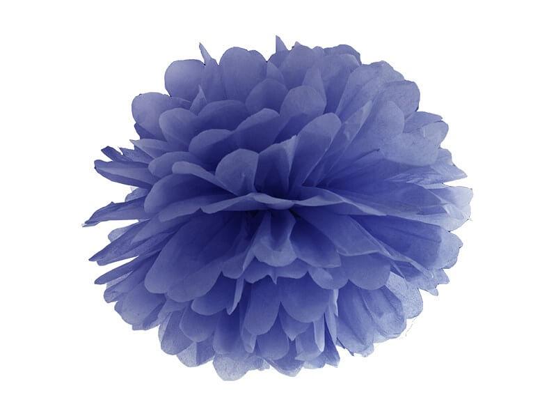Pompon en papier bleu marine 25cm
