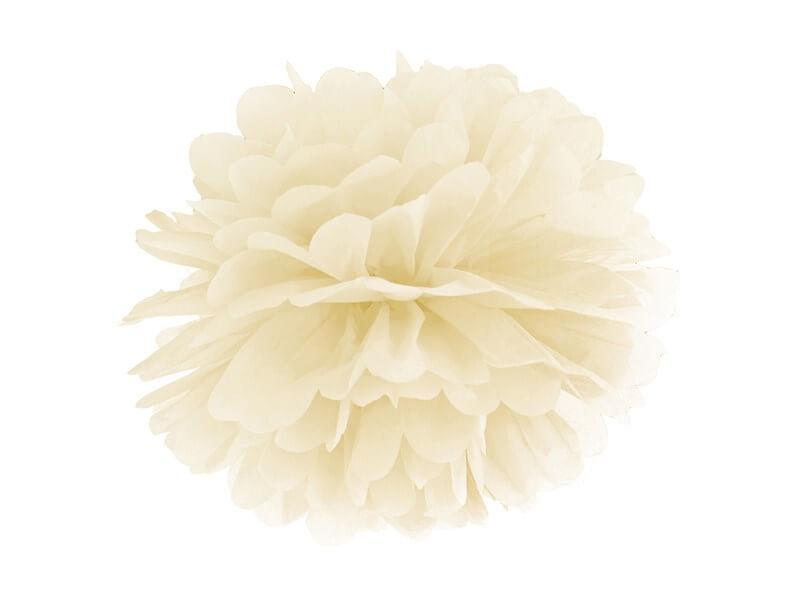 Pompon en papier crème 25cm