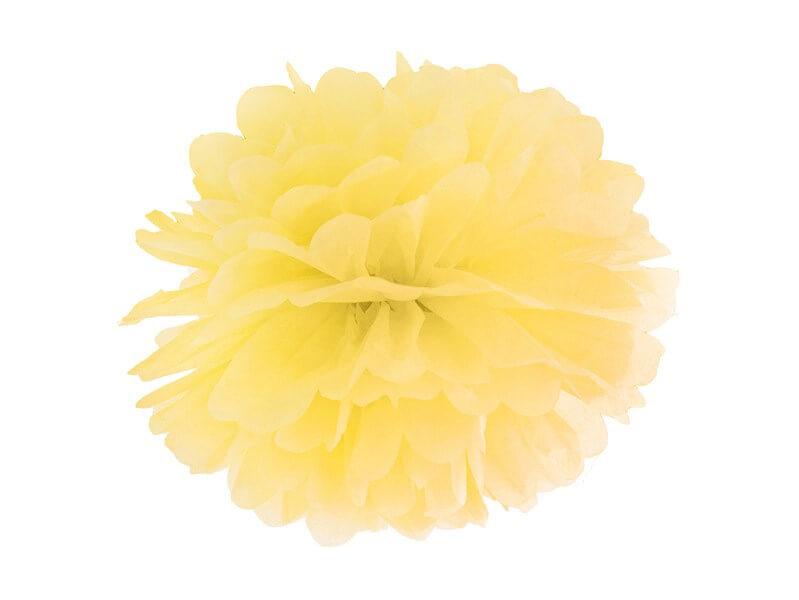 Pompon en papier jaune 25cm