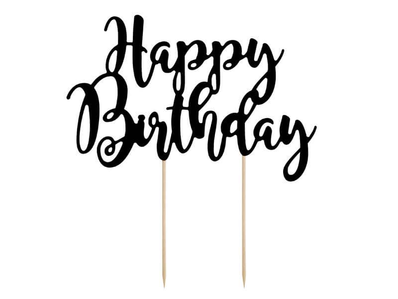 Décoration pour gâteau Happy Birthday noir