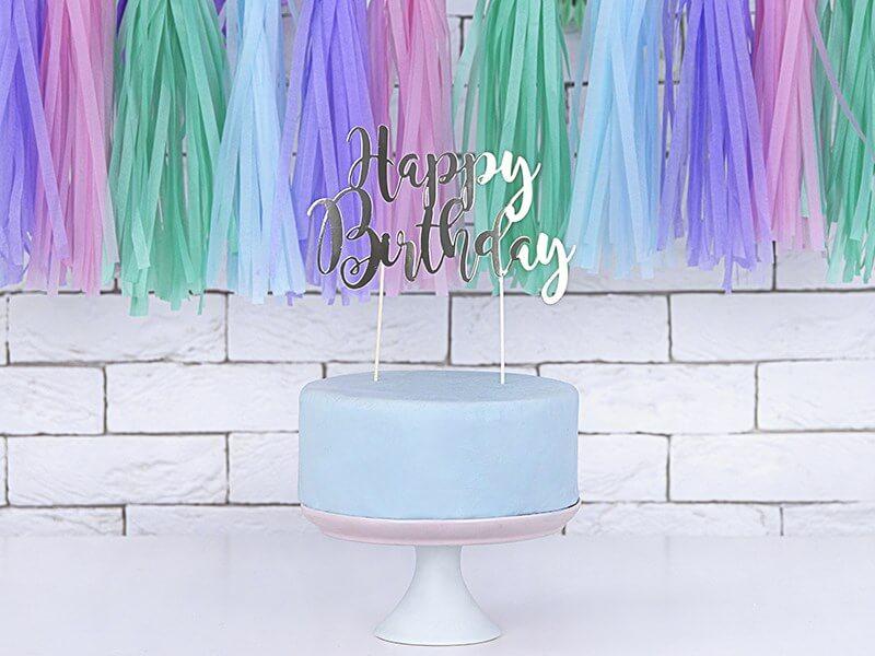 Décoration pour gâteau Happy Birthday argent