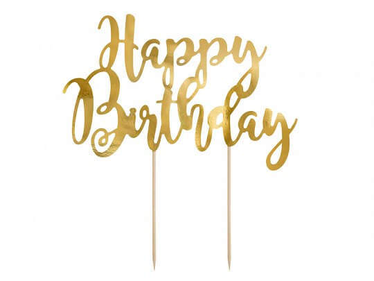 Décoration pour gâteau Happy Birthday or