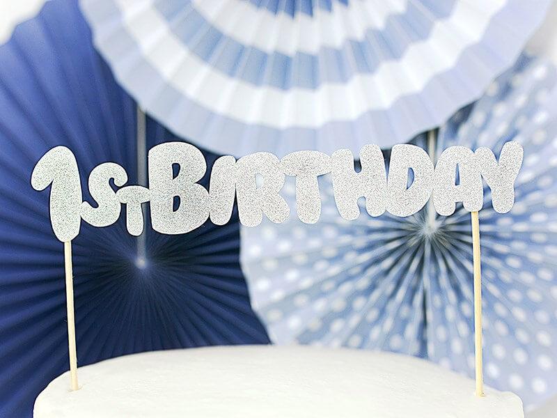 Décoration pour gâteau 1st Birthday argent pailleté