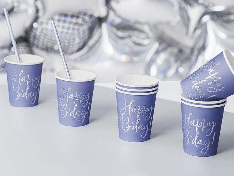 Gobelet en papier bleu Happy Bday (Lot de 6)