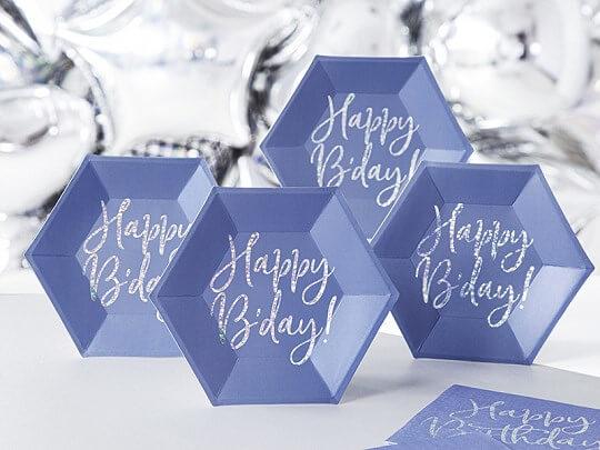 Assiette en papier bleu Happy Birthday (Lot de 6)