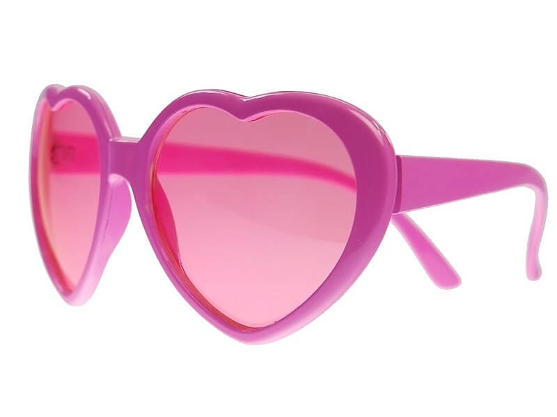 Lunettes roses forme coeur