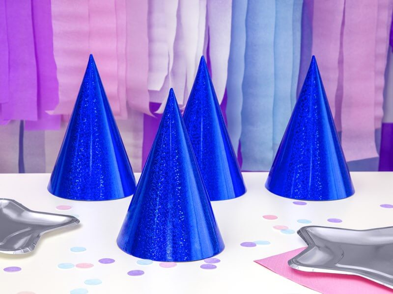 Chapeau de fête holographique bleu (Lot de 6)