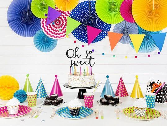 Chapeau de fête avec pompon multicolore (Lot de 6)