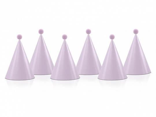 Chapeau de fête avec pompon rose clair (Lot de 6)
