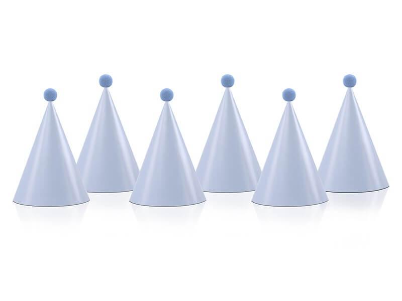 Chapeau de fête avec pompon bleu clair (Lot de 6)