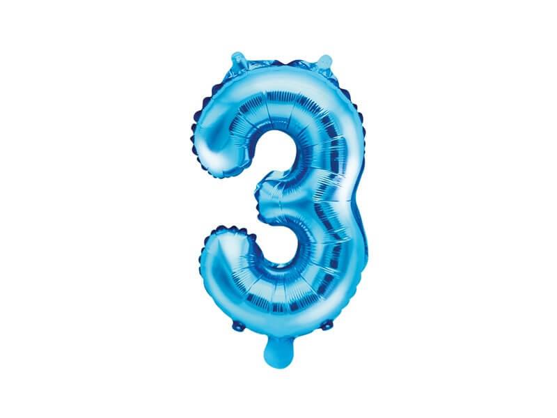 Ballon anniversaire chiffre 3 Bleu 35cm