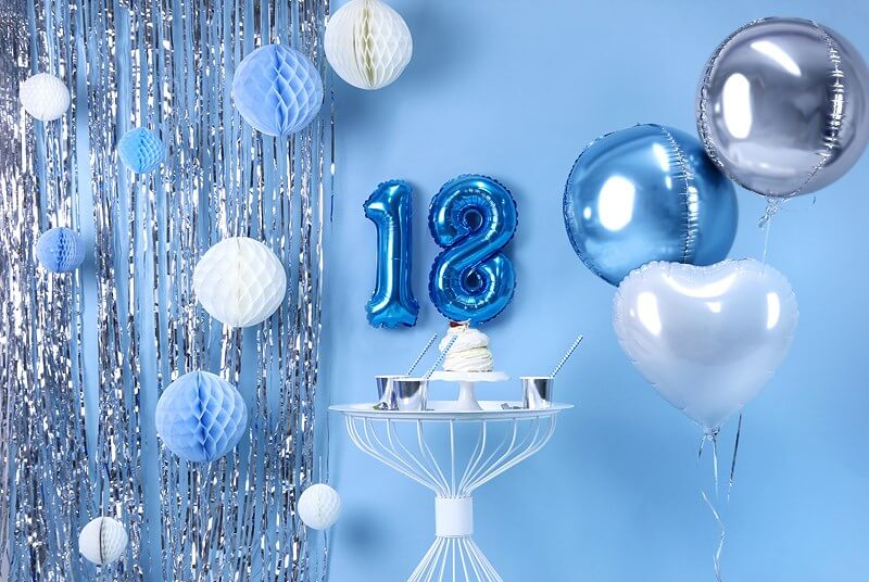 Ballon anniversaire chiffre 8 Bleu 35cm