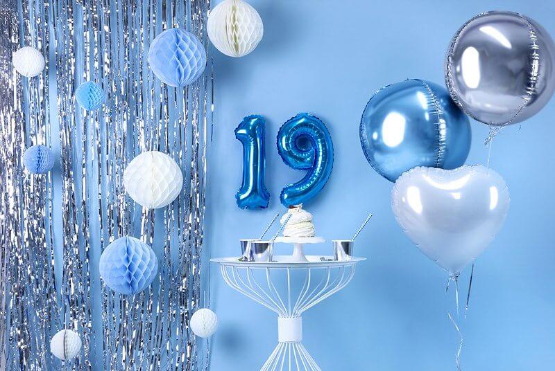 Ballon anniversaire chiffre 9 Bleu 35cm