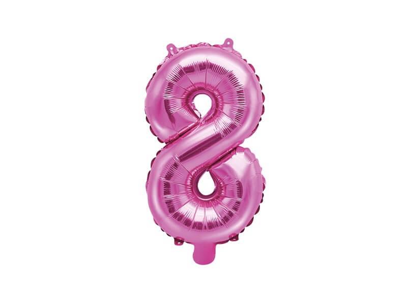 Ballon anniversaire chiffre 8 Rose 35cm