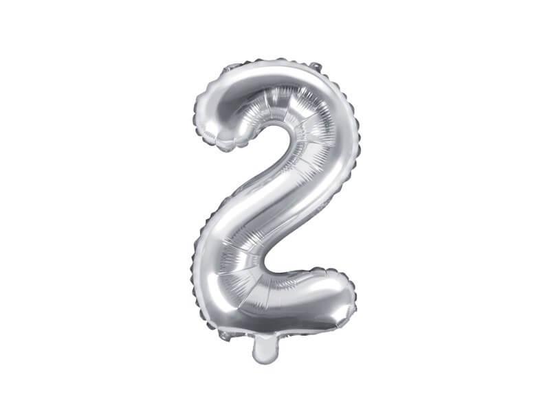 Ballon anniversaire chiffre 2 Argent 35cm
