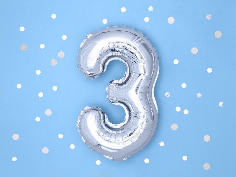 Ballon anniversaire chiffre 3 Argent 35cm