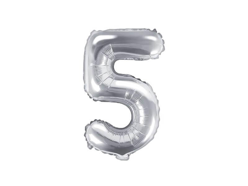 Ballon anniversaire chiffre 5 Argent 35cm