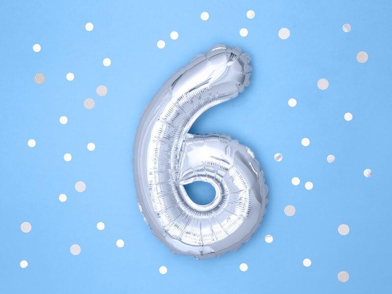 Ballon anniversaire chiffre 6 Argent 35cm