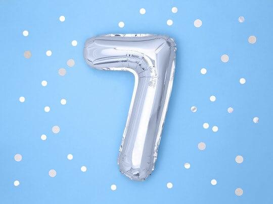 Ballon anniversaire chiffre 7 Argent 35cm