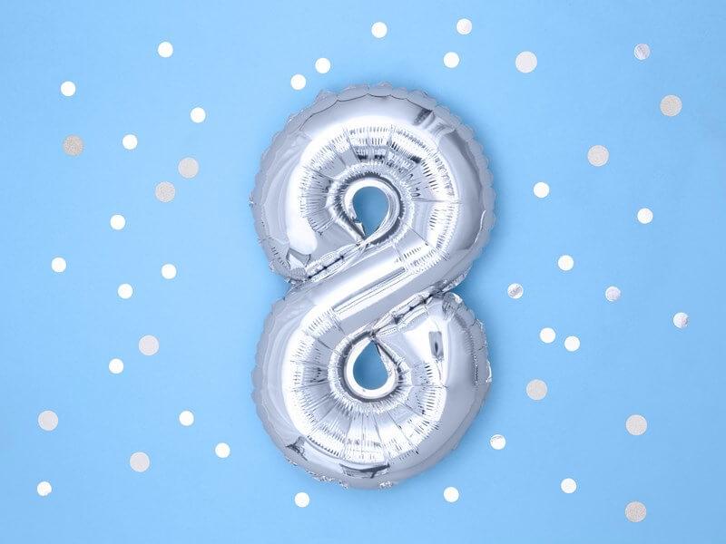 Ballon anniversaire chiffre 8 Argent 35cm