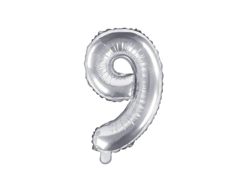 Ballon anniversaire chiffre 9 Argent 35cm